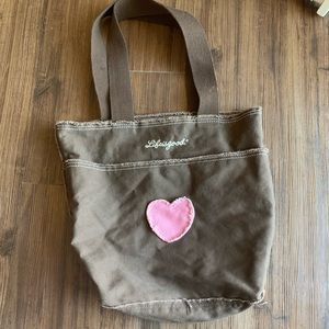 Life Is Good Brown Heart Tote Bag